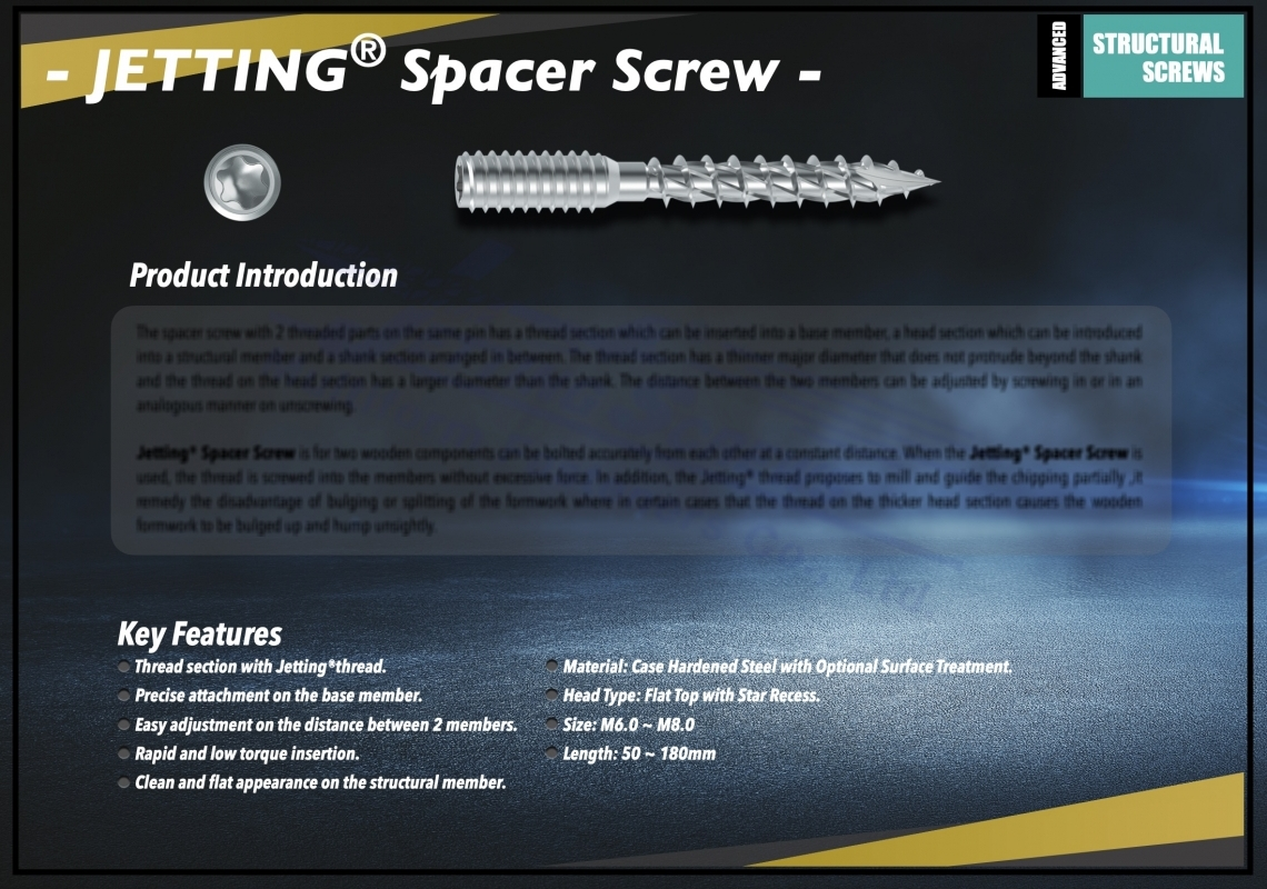 Jetting® Spacer Screw